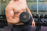 Shirtless bodybuilder lifting heavy black dumbbell