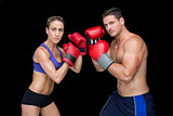 Bodybuilding couple posing with boxing gloves looking at camera
