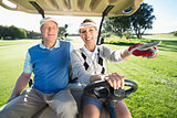 Happy golfing couple sitting in golf buggy