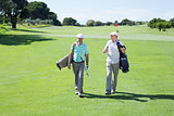 Golfer friends walking and holding their golf bags