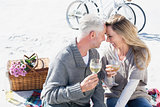Couple enjoying white wine on picnic at the beach smiling at each other