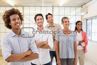 Casual business team looking up