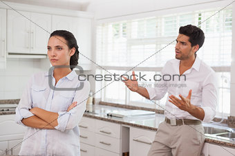 Attractive couple fighting with each other