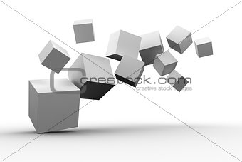 Digitally generated grey cubes floating