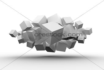 Grey cubes floating in a cluster