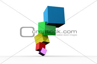 Pile of 3d colourful cubes