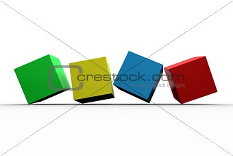 3d colourful cubes in a row
