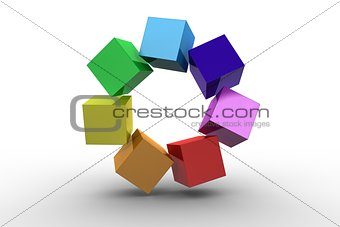 3d colourful cubes in a circle