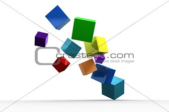 3d colourful cubes floating