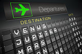 Departures board for space travel