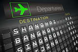 Black departures board for asian cities
