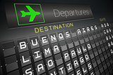 Black departures board for south america