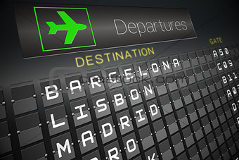 Black departures board for european cities