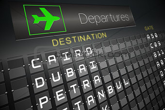 Black departures board for cities