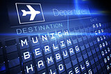 Blue departures board for german cities