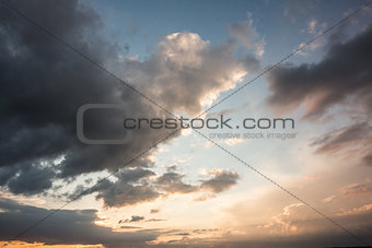 Blue and orange sky with clouds