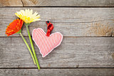 Colorful gerbera flowers and Valentine's day heart toy