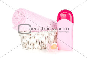 Baby shampoo, pacifier and towel for girl