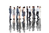 Many business people standing in a line