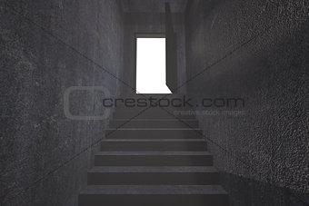 Grey staircase leading to open door
