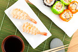 Sushi maki and shrimp sushi
