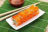 Sushi maki with tobiko