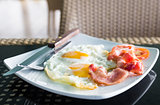 Breakfast with egg and bacon
