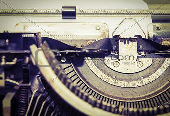 Close up vintage portable typewriter