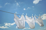 Men's underwear hanging on clothesline