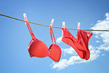 Underwear hanging on clothesline