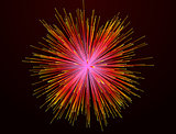 Red fireworks on background