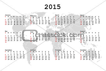 2015 Calendar for agenda with world map
