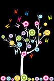 Abstract white tree with stylized fruits and butterflies