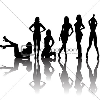 Black sexy women silhouettes with shadows