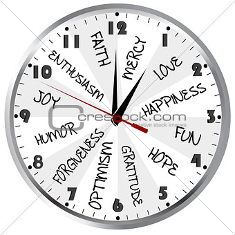 Clock with positive feelings