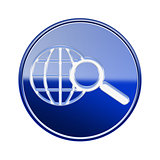 globe and magnifier icon glossy blue, isolated on white backgrou