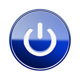 Power button icon glossy blue, isolated on white background