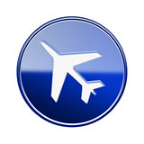 Airplane icon glossy blue, isolated on white background