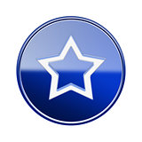 Star icon glossy blue, isolated on white background