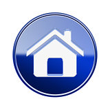 House icon glossy blue, isolated on white background