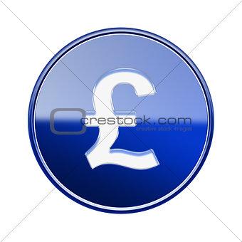 Pound icon glossy blue, isolated on white background