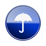 Umbrella icon glossy blue, isolated on white background