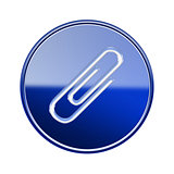 Paper clip icon glossy blue, isolated on white background