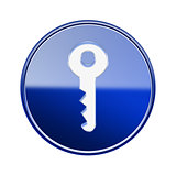 Key icon glossy blue, isolated on white background
