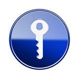 Key icon glossy blue, isolated on white background
