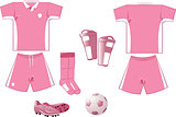 White and pink soccer equipment