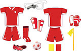 red and white soccer equipment