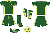 Green and yellow soccer equipment