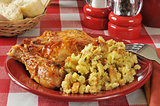 Barbecue chicken and stuffing