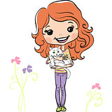 Vector hipsterl fashion cute girl with kitten
